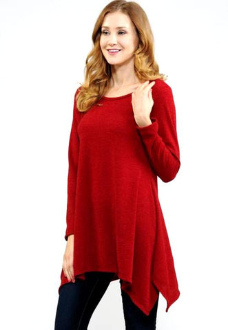 Red Solid Tunic Top - Blessed and Beautiful Boutique