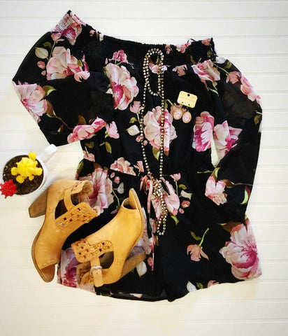 Black Floral Romper - Blessed and Beautiful Boutique
