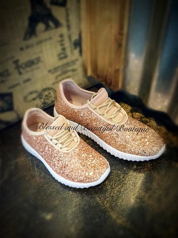 Youth - Rose Gold Glitter Sneakers - Blessed and Beautiful Boutique