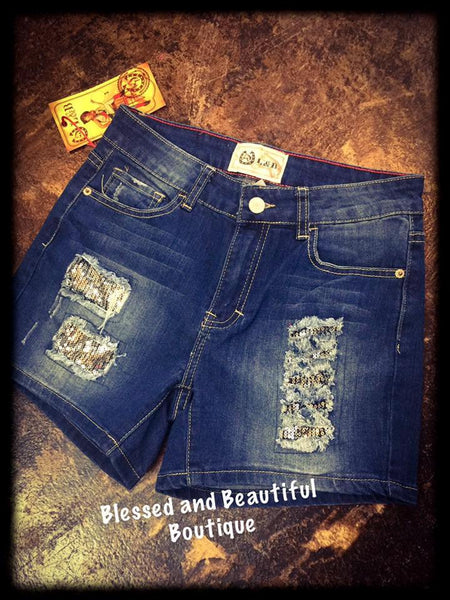 Silver Sequins Boyfriend Distressed Shorts - Blessed and Beautiful Boutique