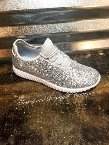 Silver Glitter Sneakers - Blessed and Beautiful Boutique