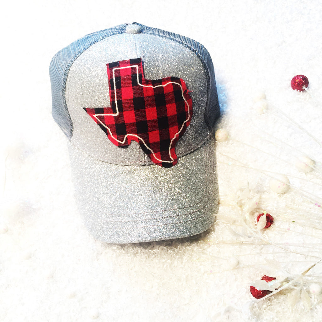 Texas Buffalo Plaid Patch on Silver Glitter High-Ponytail Hat - Blessed and Beautiful Boutique
