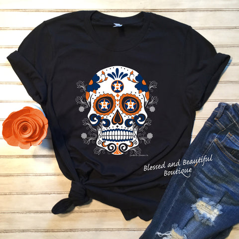 Sugar Skull Houston Astros - Blessed and Beautiful Boutique