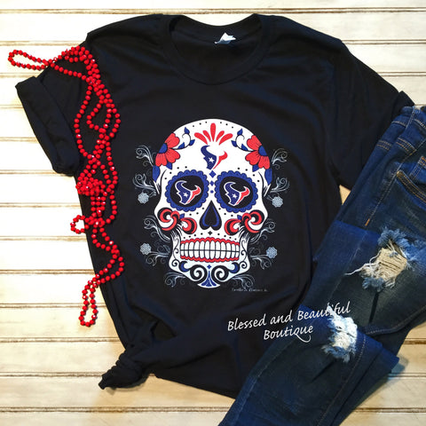 Sugar Skull Houston Texans - Blessed and Beautiful Boutique