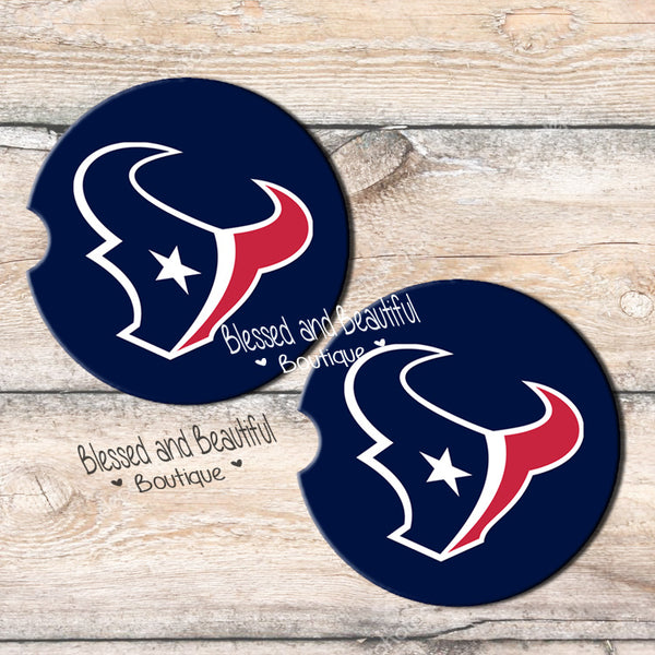 Houston Texans Car Coasters - Blessed and Beautiful Boutique