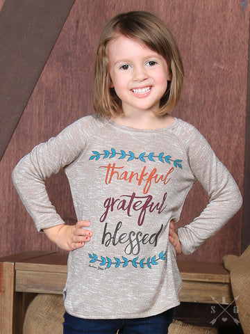 Youth Thankful Grateful Blessed Top - Blessed and Beautiful Boutique