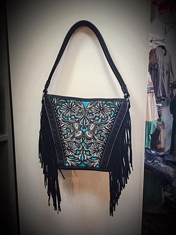 Embroidered Flower Fringed Black Turquoise Purse - Blessed and Beautiful Boutique