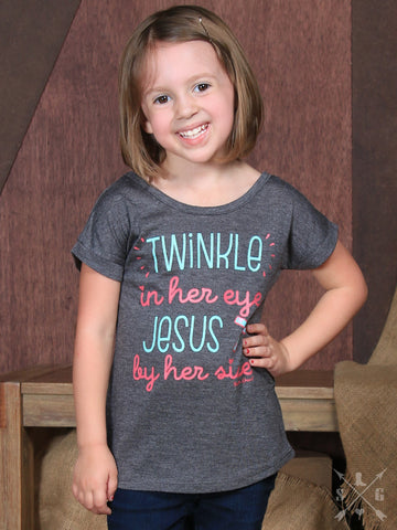 Girls' Twinkle In Her Eye, Jesus By Her Side Grey Tee - Blessed and Beautiful Boutique