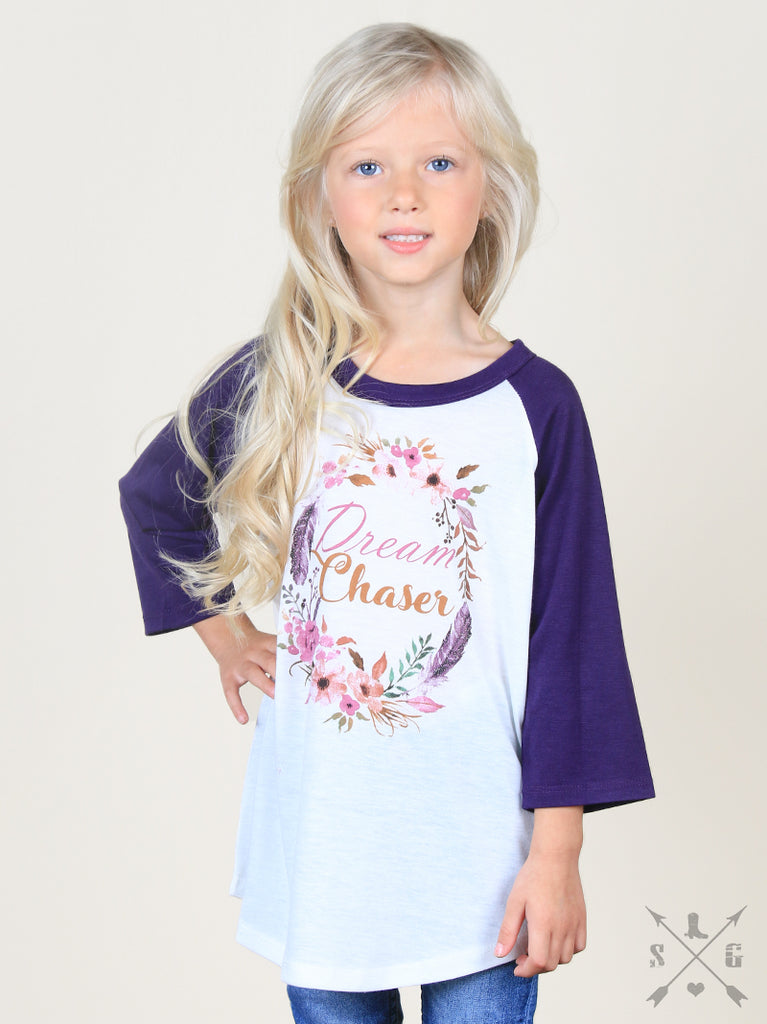Girls' Dream Chaser on Purple & White Raglan - Blessed and Beautiful Boutique