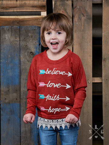 Girls Inspirational Arrows on Red Loose Tunic with Lace Trim - Blessed and Beautiful Boutique