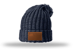 Navy Beanie w/leather patch