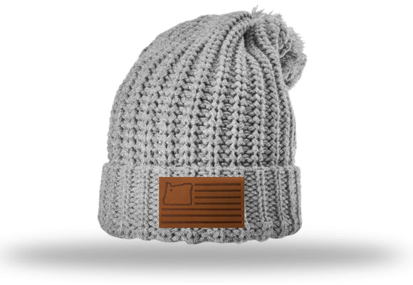 Light Grey Beanie w/leather patch