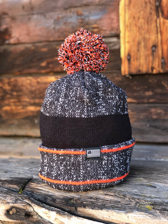 Orange Pom Knit Beanie