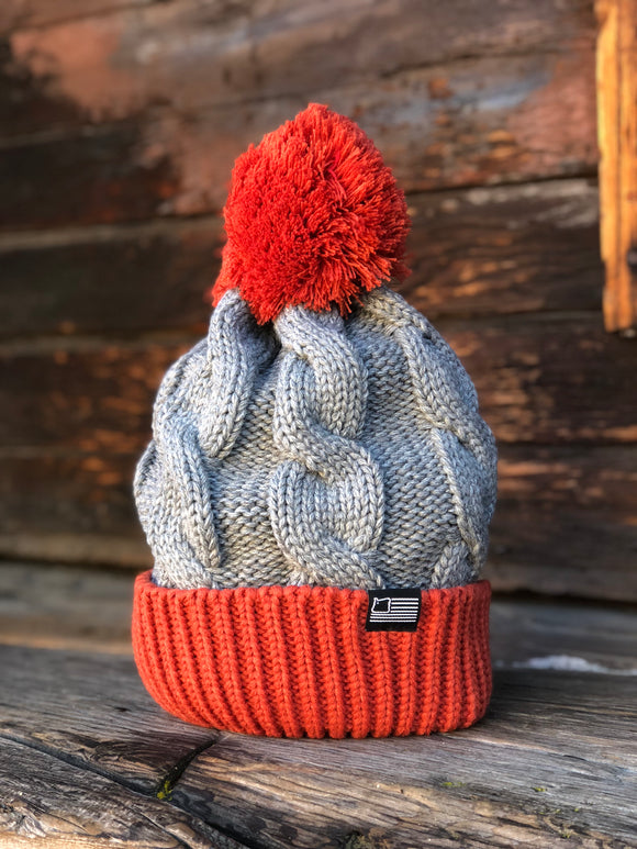 Rust/Grey Cable Knit Beanie