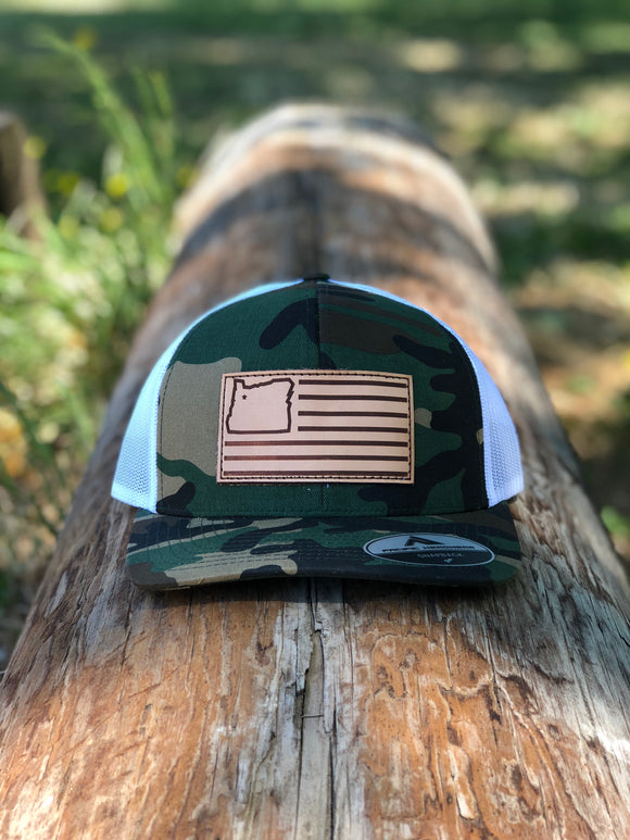 Camo/White & Leather Trucker