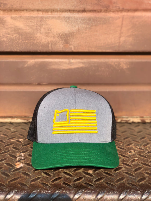 Heather Grey/Kelly/Yellow Trucker