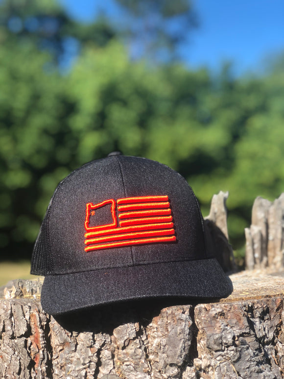 Heather Black & Orange Trucker