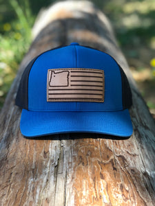 Ocean Blue/Charcoal & Leather Trucker