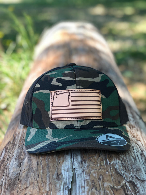Camo/Black & Leather Trucker