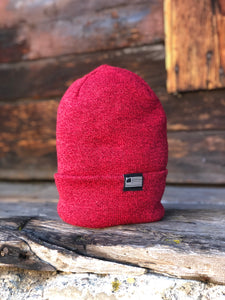 Heather Red Foldover Knit Beanie