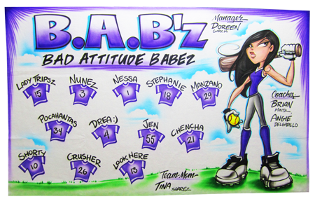 Custom airbrush painted banners Babz softball