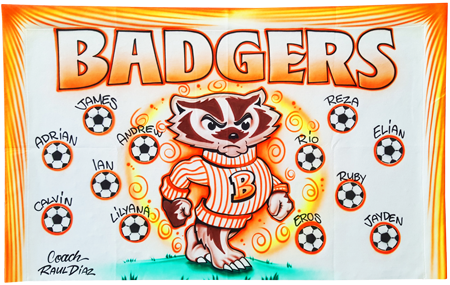 Custom airbrush painted banners badgers soccer