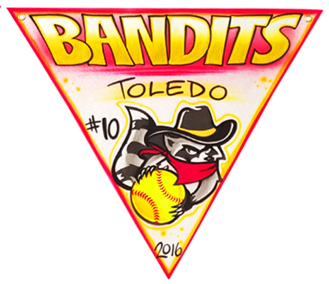 "Airbrushed felt triangle pennant 24"" Bandits"