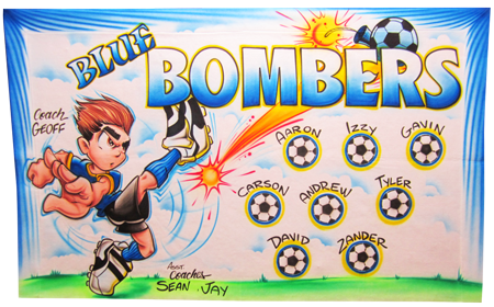 Custom airbrush painted banners Blue Bombers soccer