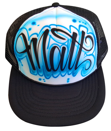 Custom airbrushed trucker hat Cursive outlined