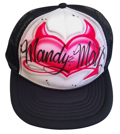 Custom airbrushed trucker hat Devil heart
