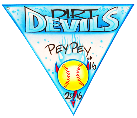 "Airbrushed felt triangle pennant 24"" Dirt Devils"