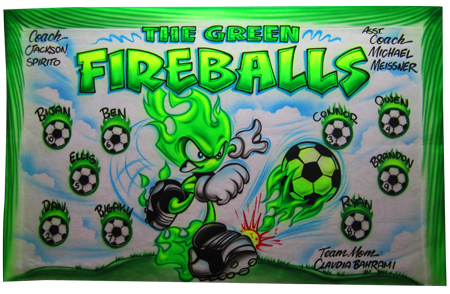 Custom airbrush painted banners Green Flames soccer
