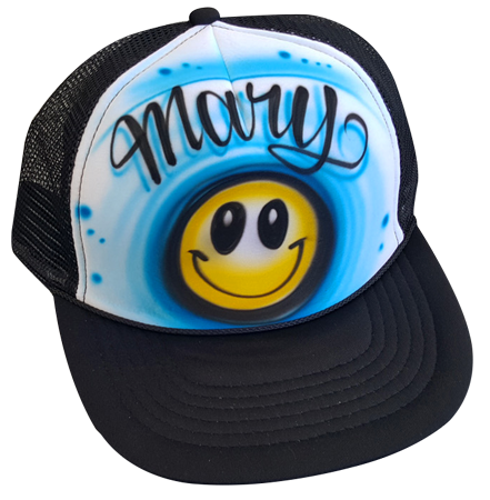 Custom airbrushed trucker hat Happy face