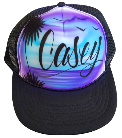 Custom airbrushed trucker hat Purple blue beach