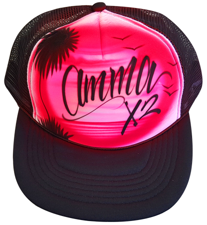 Custom airbrushed trucker hat red beach