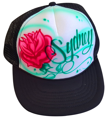 Custom airbrushed trucker hat Rose