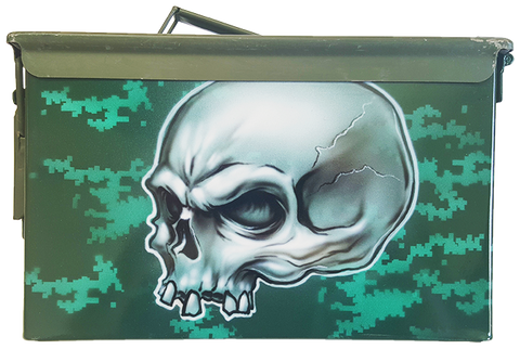 Custom Airbrushed Ammo Can Skull with digital camo background