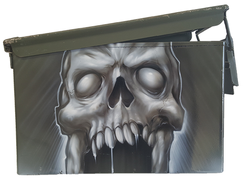 Custom Airbrushed Ammo Can Skull front view