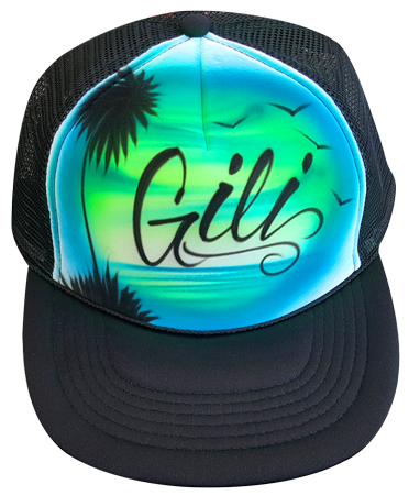 Custom airbrushed trucker hat Blue green beach