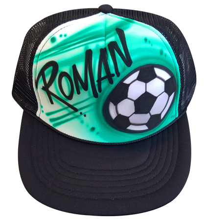 Custom airbrushed trucker hat Soccer