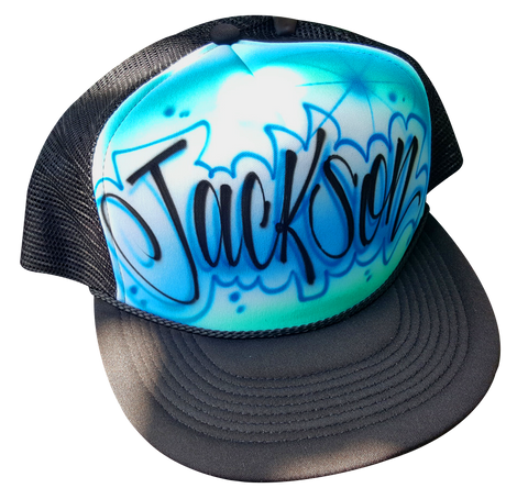 Custom airbrushed trucker hat cursive