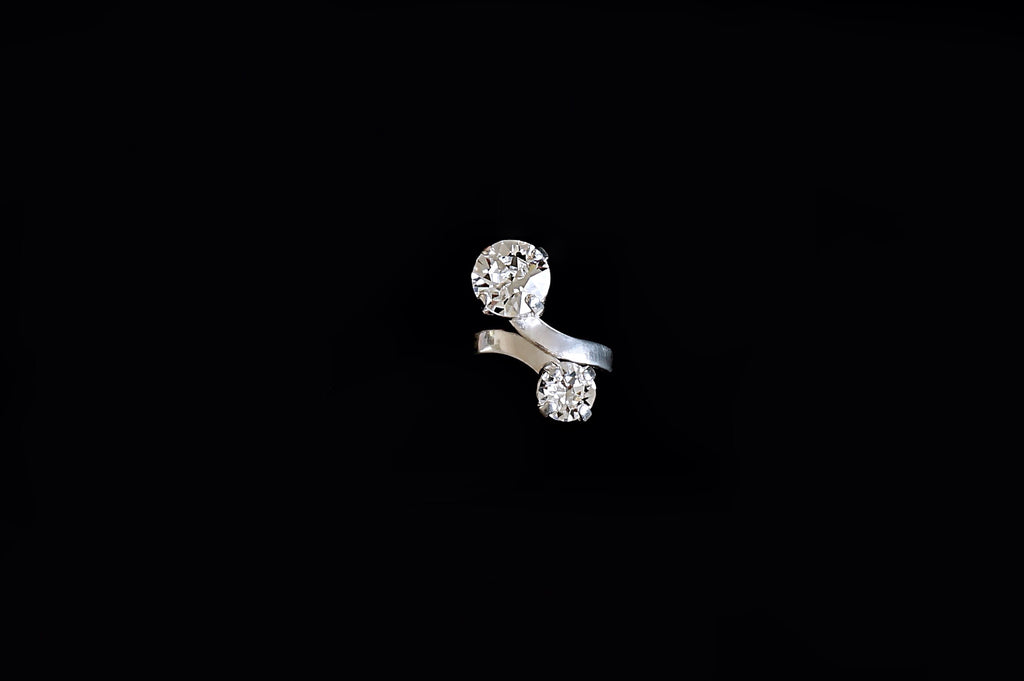 Silver plated ring made with Swarovski crystals divuscreations