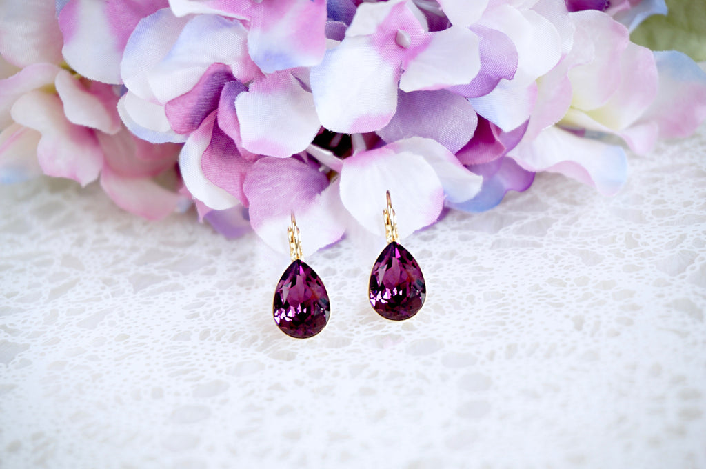 Purple lavender earrings divus india