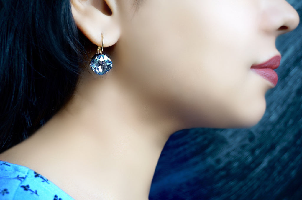 Blue shimmer hanging earrings jewellery by divuscreations