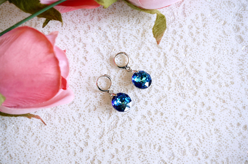 Blue dark silver earrings Divuscreations