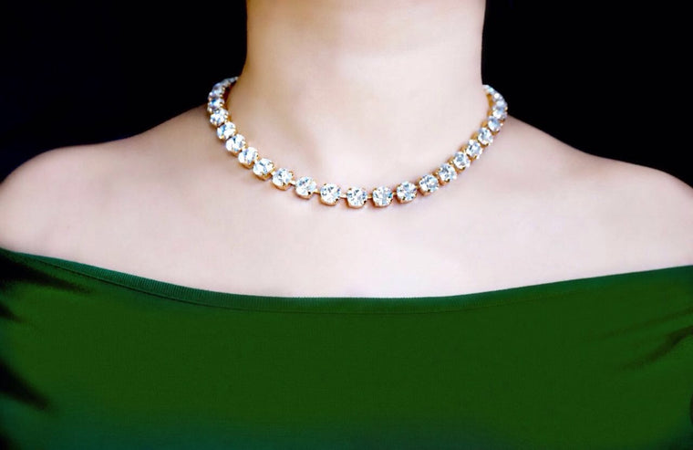 Necklace studded with Swarovski crystals divuscreations india