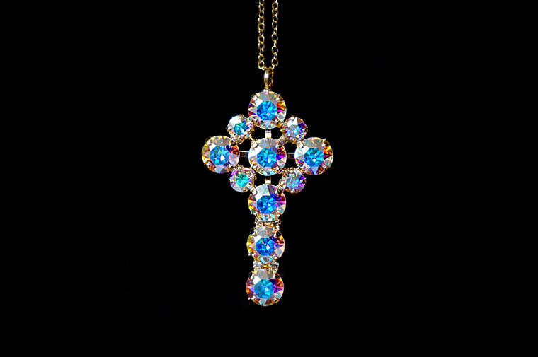 Blue pink pendant made with Swarovski crystals divuscreations. Shop online India for jewellery