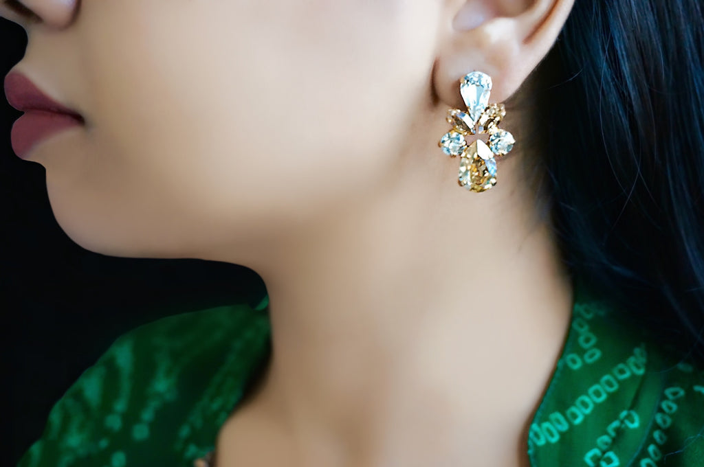 Gold plated earrings made with Swarovski crystals India