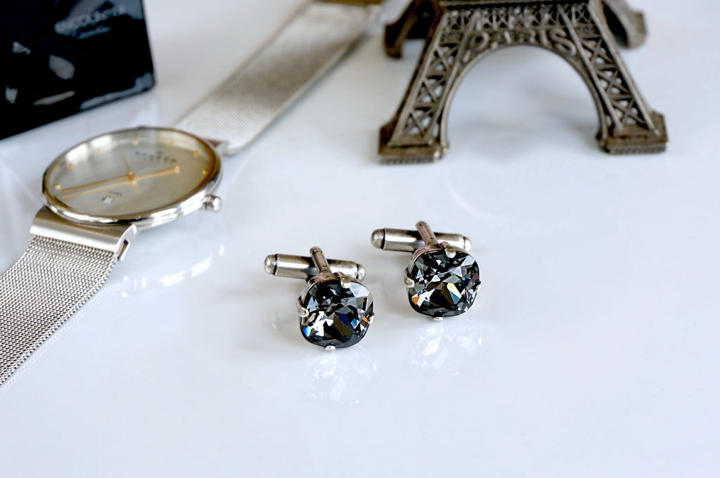 Cuff links for men made with Swarovski crystals divuscreations