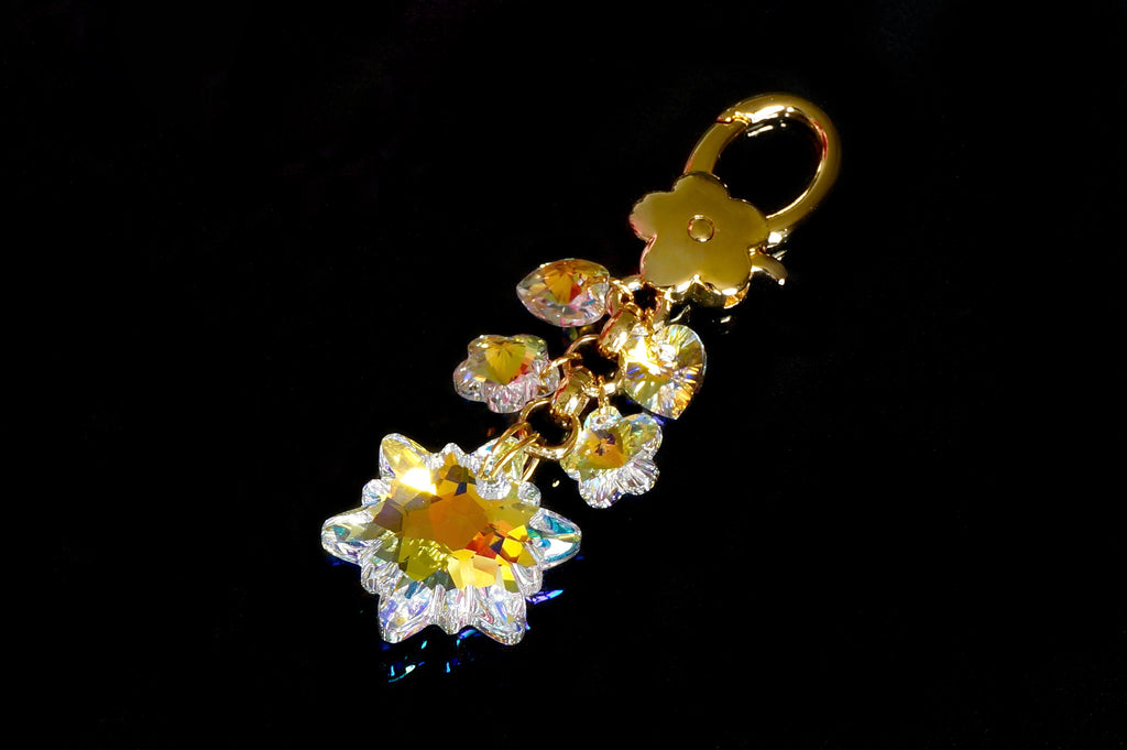 Crystal purse charms from Divus, made in India